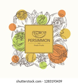 Background with persimmon fruit and persimmon slice. Vector hand drawn illustration