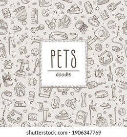 Background with pets sings and zoomarket icons. Hand drawn vector doodles illustration.