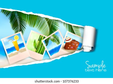 Background with photos from holidays on a seaside with ripped paper. Vector