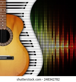 Background with piano keys and acoustic guitar. Music background. EPS10 vector