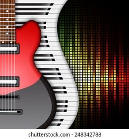 Background with piano keys and electric guitar. Music background. EPS10 vector