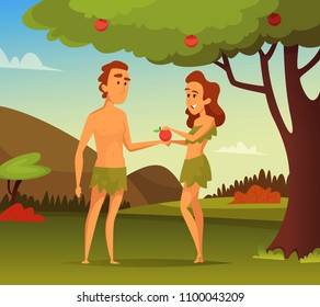 Background picture of Biblical story. Temptation Of Adam. Illustration of first man and woman. Vector male and female in apple garden