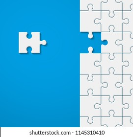 Background a lot of piece puzzle paper cut pattern. Abstract puzzles picture. Simple piece puzzle wallpaper template. Vector paper cut banner presentation picture. Background for business presentation