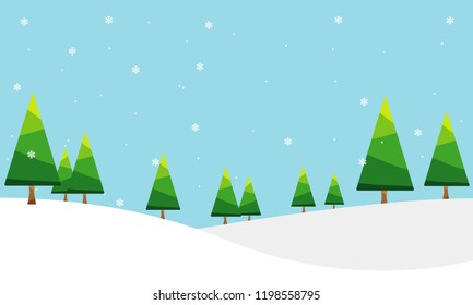 Background of pine forest in winter,Vector,Illustration.