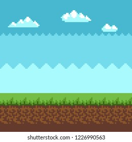 Background in pixel art summer style and blue sky with clouds.