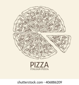 Background with pizza. hand drawn