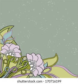 Background with poppies and leaves. Decorative background with abstract flowers. Composition in soft colors and dotted background. Copy space. Vector elements are grouped.