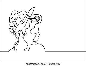Background with a portrait of the beautiful young girl-continuous line drawing