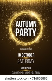 Background, poster for autumn party. Shining golden banner with golden dust. Abstract yellow lights. Seasonal poster. DJ and club name. Vector illustration