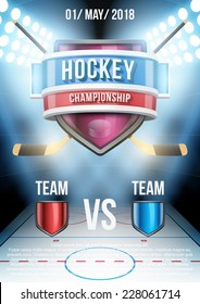 Background For Posters Ice Hockey Stadium Game Announcement Editable Vector Illustration
