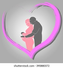 Background of pregnant woman and her husband in heart