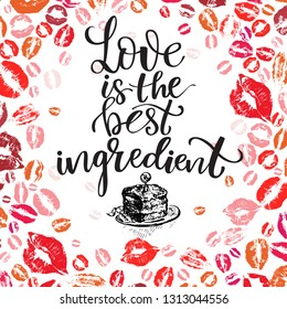 Background with Prints of woman s lips. Ilove you background for Valentine s day and Happy love day with modern lettering love theme