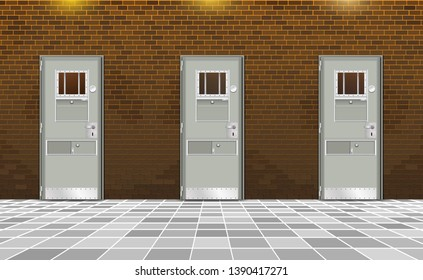 Background prison, trend penal colony interior. Jail cells modern with gray doors. Behind brick wall, bars In jail, dark. Vector detailed illustration for design or happy deprivation of freedom. Eps10