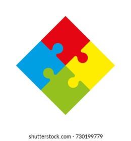 Background puzzle pattern. Simple five piece puzzle wallpaper template. banner presentation picture.
