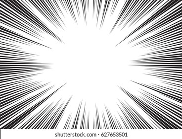 Background of radial lines for comic books. Manga speed frame, superhero action, explosion background. Black and white vector illustration
