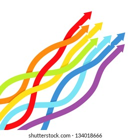 Background with rainbow lines with arrows. Vector illustration.