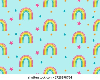 Background with rainbows, stars and rain drops