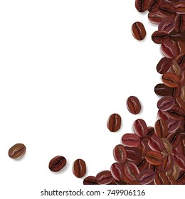Background with realistic coffee beans and a place for text. Vector illustration