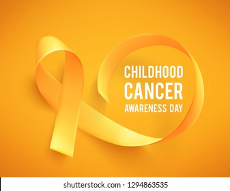 Background with realistic gold ribbon. World childhood cancer symbol, vector illustration. Template for poster for cancer awareness month.