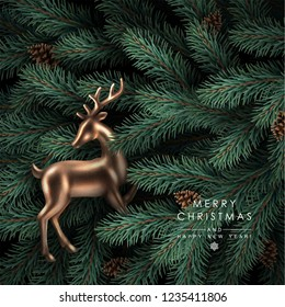 Background with Realistic Looking Christmas Tree Branches, Fir-cones and Rose Gold Glass Deer