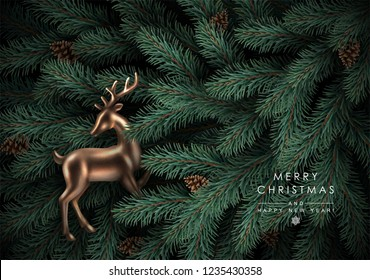 Background with Realistic Looking Christmas Tree Branches, Fir-Cones and Gold Glass Reindeer