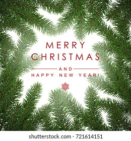 Background with Realistic Looking Christmas Tree Branches and Season Wishes.