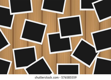 Background of realistic photo frames on brown wooden texture. Template retro photo design. Vector illustration