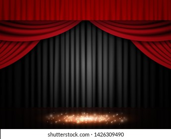 Background with red and black theatre curtain. Vector illustration