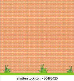 Background - the red brick wall and grass