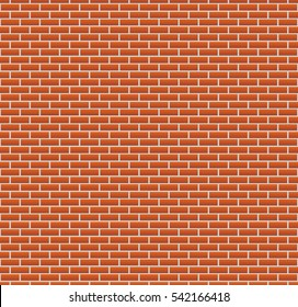 Background of red brick wall. seamless wallpaper vector illustration. colorful horizontal architecture