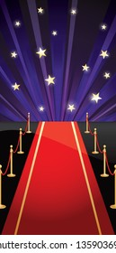 Background with red carpet and stars. Vector illustration EPS 10. CMYK.