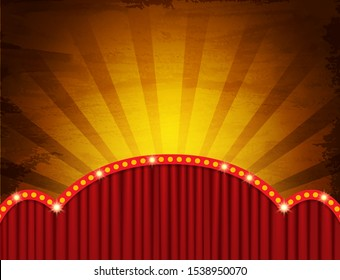 Background with red circus curtain. Design for presentation, concert, show. Vector illustration