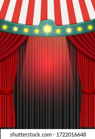 Background with red curtain and circus tent. Design for presentation, concert, show. Vector illustration