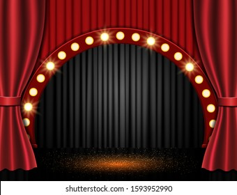Background with red curtain and spotlights. Design for presentation, concert, show. Vector illustration