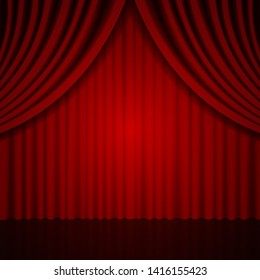 Background with red curtain. Vector illustration