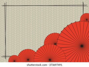 Background with red Japanese umbrella