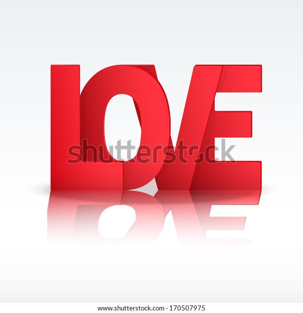 Background with red letter Love. Vector illustration. Love or medicine theme. Editable and isolated.