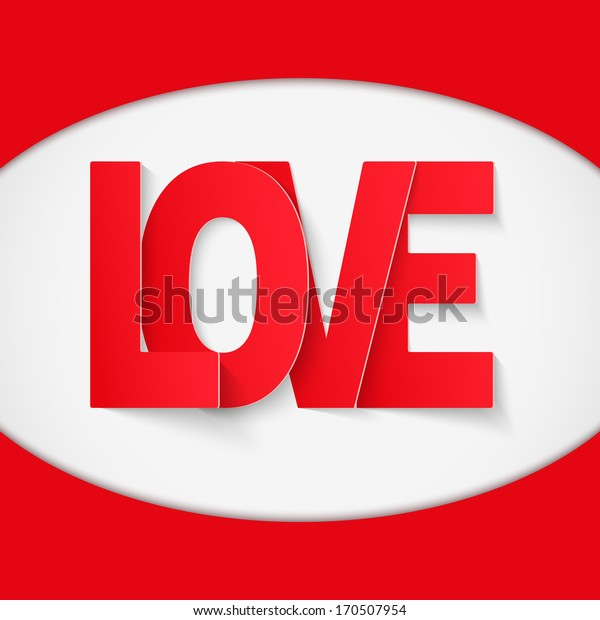 Background with red paper, letter Love. Vector illustration. Love or medicine theme. Editable and isolated.