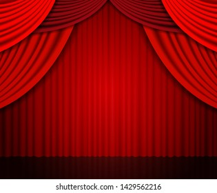 Background with red theatre curtain. Vector illustration