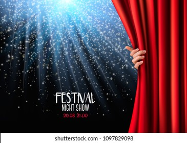 Background with red velvet curtain and lights. Vector illustration.