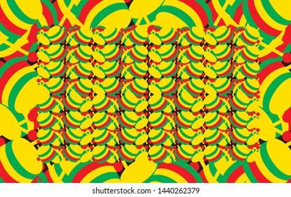 Background of reggae, cuica, green, red and yellow colors of Jamaica and reggae