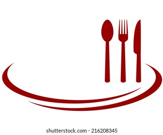 background for restaurant with red fork, knife and spoon