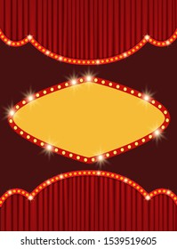Background with retro banner on red curtain. Design for presentation, concert, show. Vector illustration