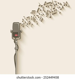 background with retro microphone - vector illustration. eps 10