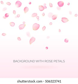 Background with rose petals. Eps 10 vector. Falling petals against pink background. Flower petals. Sakura petals. Happy Valentine's Day! Valentines day background.