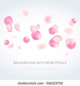 Background with rose petals. Eps 10 vector. Sakura or rose petals falling down. Flower petals against gray and white background. Happy Valentine's Day! Valentines day background.