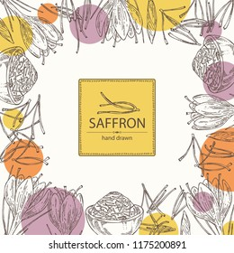 Background with saffron: flower and saffron stamens. Vector hand drawn illustration.