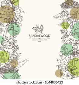 Background with Sandalwood: leaves berries and flowers. Santal white. Essential oil, soap and bath salt . Perfumery, cosmetics and medical plant. Vector hand drawn illustration