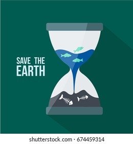 background save the earth. Hourglass cartoon & Globe ocean, blue sea or water flowing & trickle inside. some fish flat design are alive & dead like a bones vector isolated. Humanity destroys the world