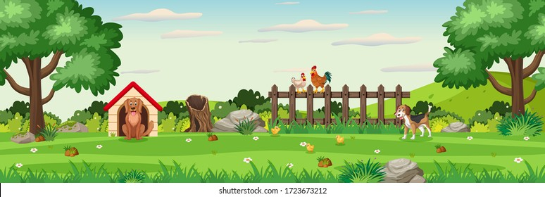 Background scene with animals in the park illustration